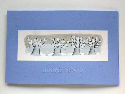 Fila di alberi innevati [decorazione a mano su sfondo a tecnica mista] - 1,60€