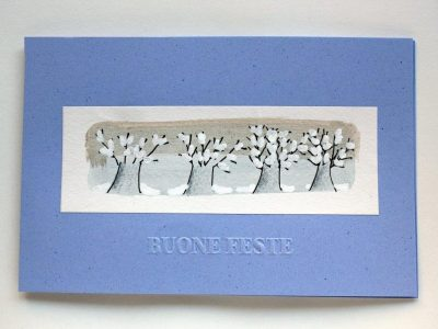 Fila di alberi innevati [stampa su cartoncino] - 1,50€ - 700pz.