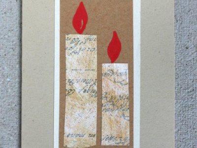 Coppia di candele [collage con decorazione a mano] - 2,00€