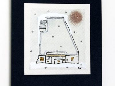 Chalet di montagna [decorazione a mano su sfondo a tecnica mista] - 2,00€