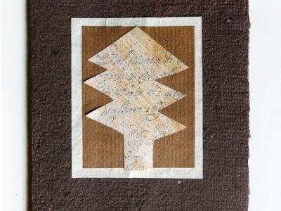 Arbusto natalizio [decorazione e collage su biglietto in carta riciclata] - 2,40€
